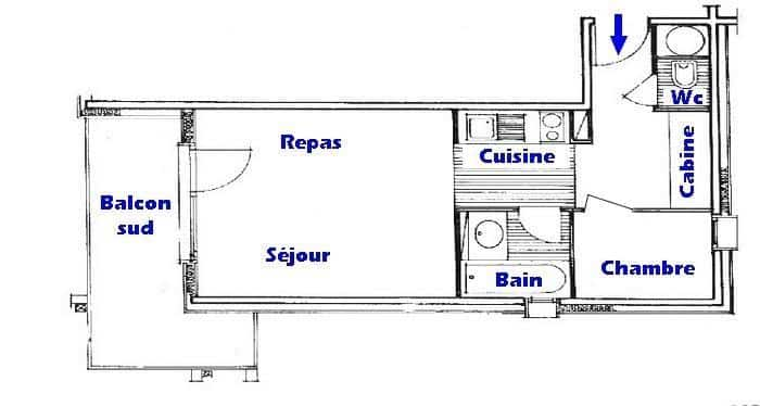 Plan de l'appartement du 2 pièces cabine ref005